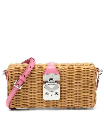Raffia small basket bag