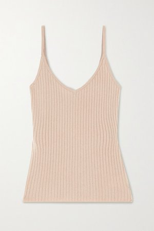 Ribbed Cashmere Tank - Sand