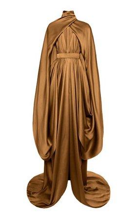 Cape-Effect Draped Silk Satin Gown By Balmain   Moda Operandi