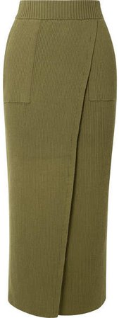 Elena Wrap-effect Ribbed Organic Cotton Skirt - Army green