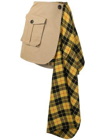 Monse tartan-panelled cargo skirt brown MF200615BAR - Farfetch