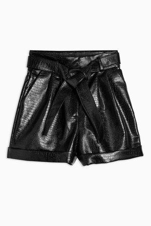 Black Crocodile Faux Leather PU Belt Shorts | Topshop