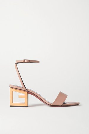 Triangle Leather Sandals - Beige