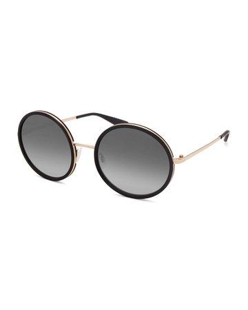 Barton Perreira Kuma Metal & Acetate Round Sunglasses