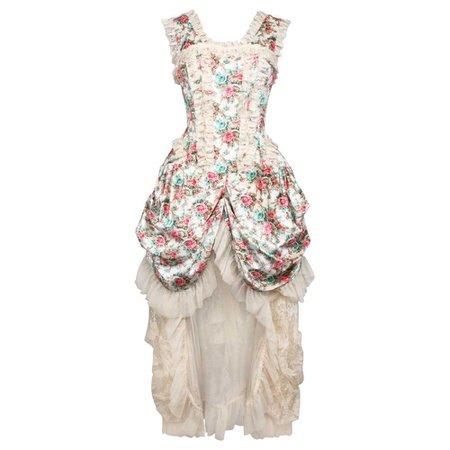 VG London Victorian draped velvet corset dress with flower print ivory
