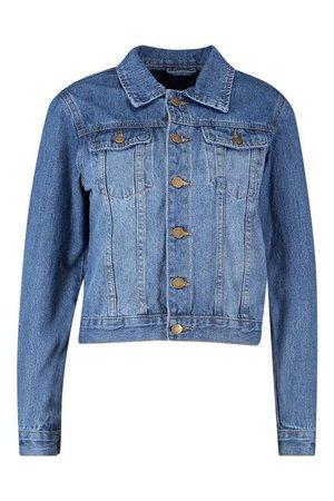 Petite Oversized Boyfriend Denim Jacket   Boohoo blue