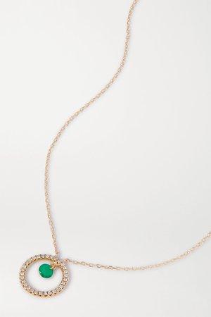 Gold Comic Strip 18-karat gold, emerald and diamond necklace   Persée   NET-A-PORTER