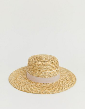 natural straw easy boater with size adjuster & light band