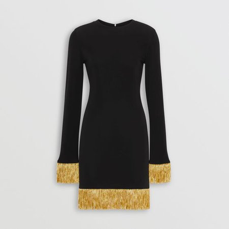 Burberry - SS19   Ricardo Tisci for Burberry metallic fringe detail black stretch jersey dress ($2,390)