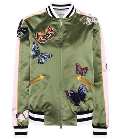 Silk bomber jacket with appliqués