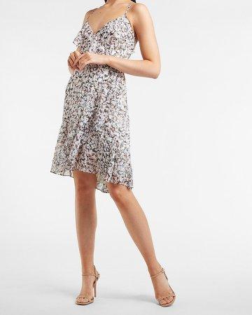 Printed Ruffle Wrap Mini Dress
