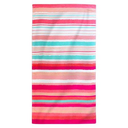 Printed Hand Drawn Stripes Beach Towel Coral : Target