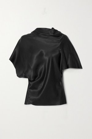 Seb Asymmetric Draped Cupro T-shirt - Black