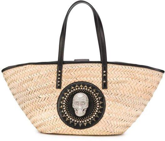 Raffia Skull-Embellished Tote Bag