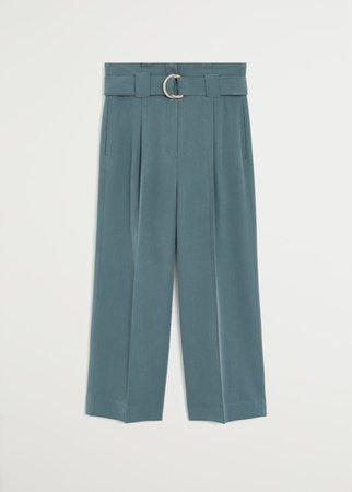 Belt flowy trousers - Women | Mango USA green
