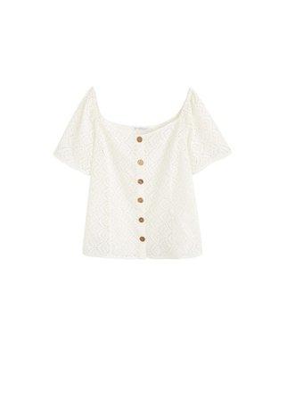 Violeta BY MANGO Openwork cotton-blend t-shirt