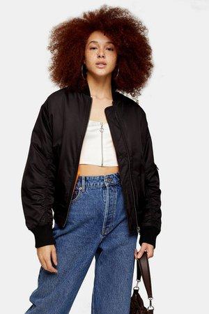 Black Oversized Bomber Jacket | Topshop