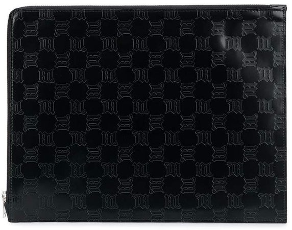 Embossed Logo Leather Clutch