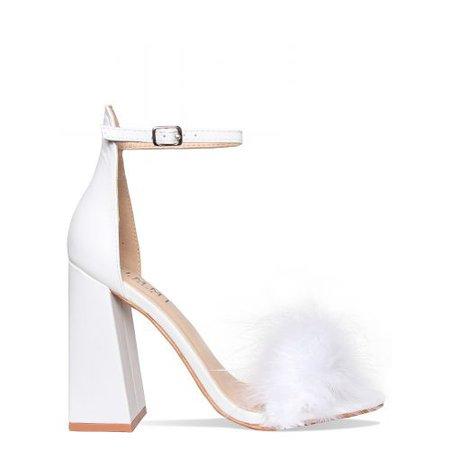 White Fluffy Heels