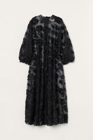 Tinsel-patterned Dress - Black