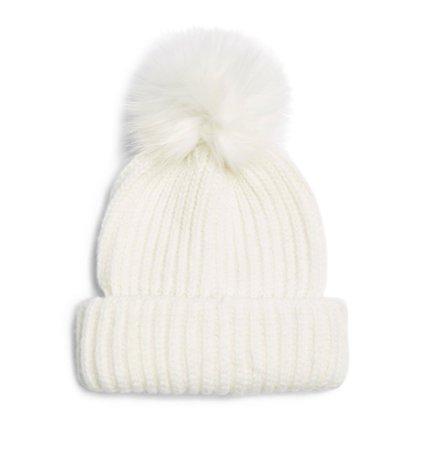 white beanie