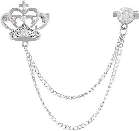 Gadgetsden Men's Corsage Lapel Chain Pin Brooch Crown Silver Suit Shirt Double Tassel Long Chains Brooch