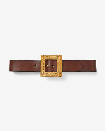 Square Raffia Buckle Genuine Leather Belt | Express