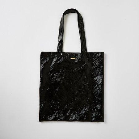 Black patent textured tote bag | River Island