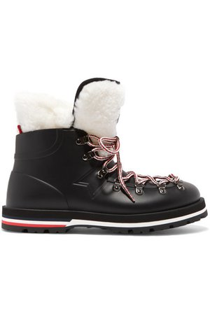 Moncler | Inaya shearling-trimmed rubber ankle boots | NET-A-PORTER.COM