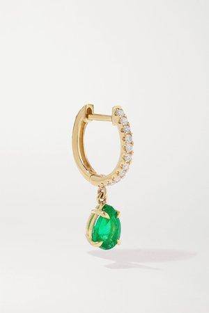 Gold 18-karat gold, emerald and diamond hoop earring   Anita Ko   NET-A-PORTER