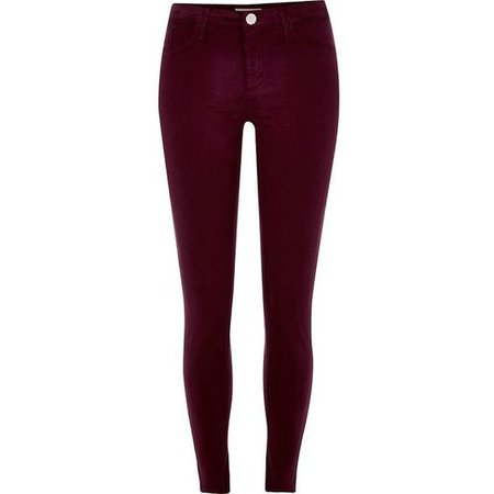 River Island Dark red Molly skinny jeans