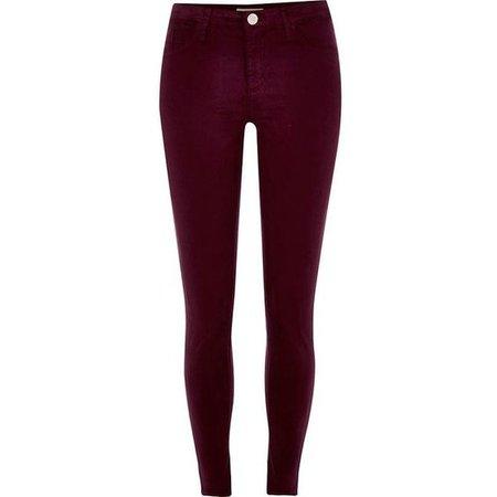 River Island Dark red Molly skinny jeans