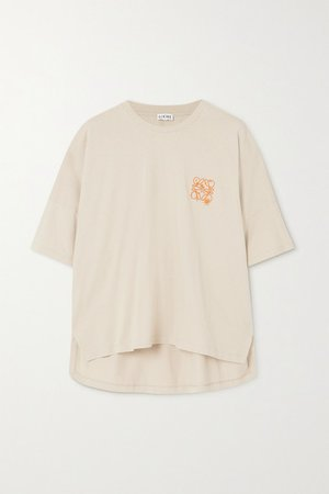 Oversized Embroidered Cotton-jersey T-shirt - Beige