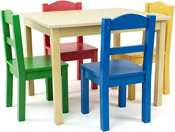 Amazon.com: Tot Tutors Collection Kids Wood Table & 4 Chair Set, Natural/Primary: Kitchen & Dining