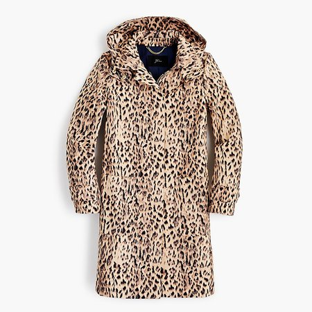 J.Crew: Leopard-print Trench Coat With Removable Hood brown