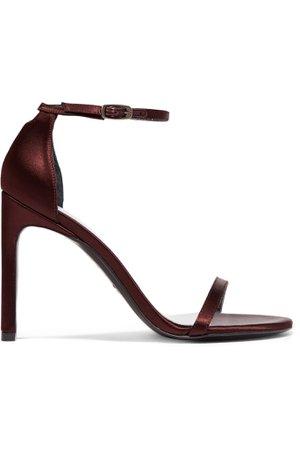 Burgundy NudistSong satin sandals   Stuart Weitzman   NET-A-PORTER
