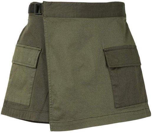 Paneled Denim Shorts