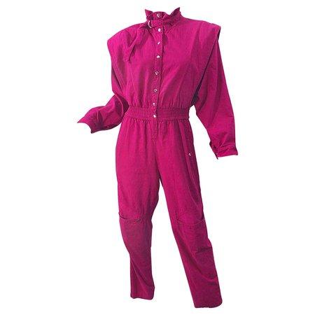Avant Garde 1980s Hot Pink Magenta Cotton Dolman Sleeve Vintage 80s Jumpsuit For Sale at 1stDibs