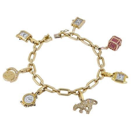 Cartier Gold Seven Detachable Charm Bracelet