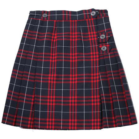 red and navy blue plaid skirt