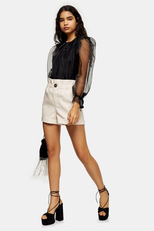 Ivory PU Paperbag Shorts
