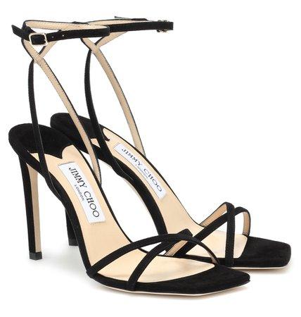 jimmy choo black metz suede sandals