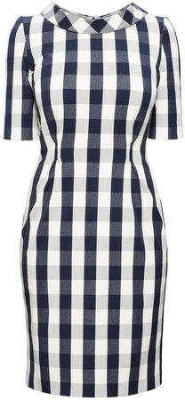 Rumour London - Juliette Navy Stretch Cotton Gingham Dress with Raised Collar