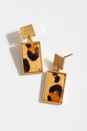 Skyla Leopard Rectangle Drop Earrings | francesca's
