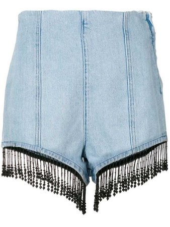 MSGM beaded fringe shorts - Blue