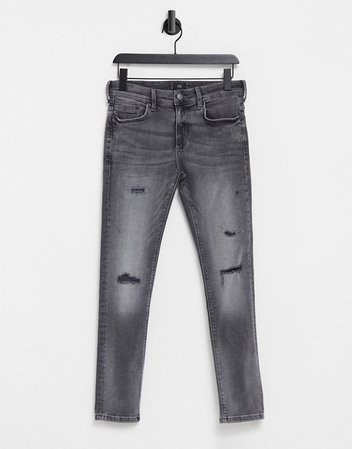 River Island skinny jeans with rips in gray | ASOS