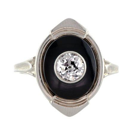 Elegant Art Deco Diamond Black Onyx White Gold Ring