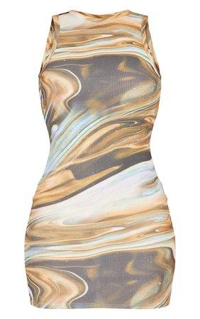 Beige Marble Print Rib Racer Neck Sleeveless Dress | PrettyLittleThing