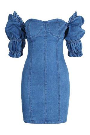 Ruffle Sleeve Denim Bodycon mini Dress | boohoo
