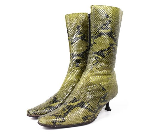 GREEN SNAKESKIN 90'S square toe reptile boots / 90's / | Etsy